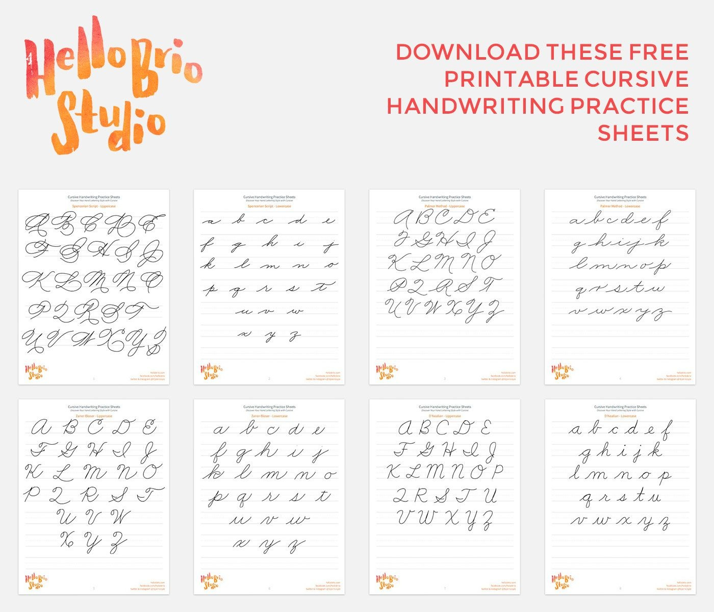 Discover Your Hand Lettering Style With Cursive | Fanciful - Calligraphy Practice Sheets Printable Free