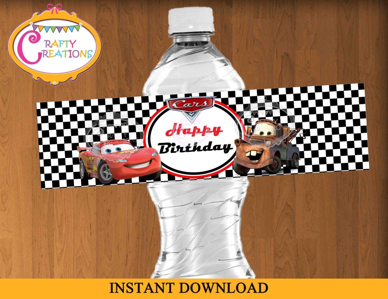 Disney Cars Water Bottle Label Mcqueen Water Bottle Labels   Etsy - Free Printable Disney Cars Water Bottle Labels