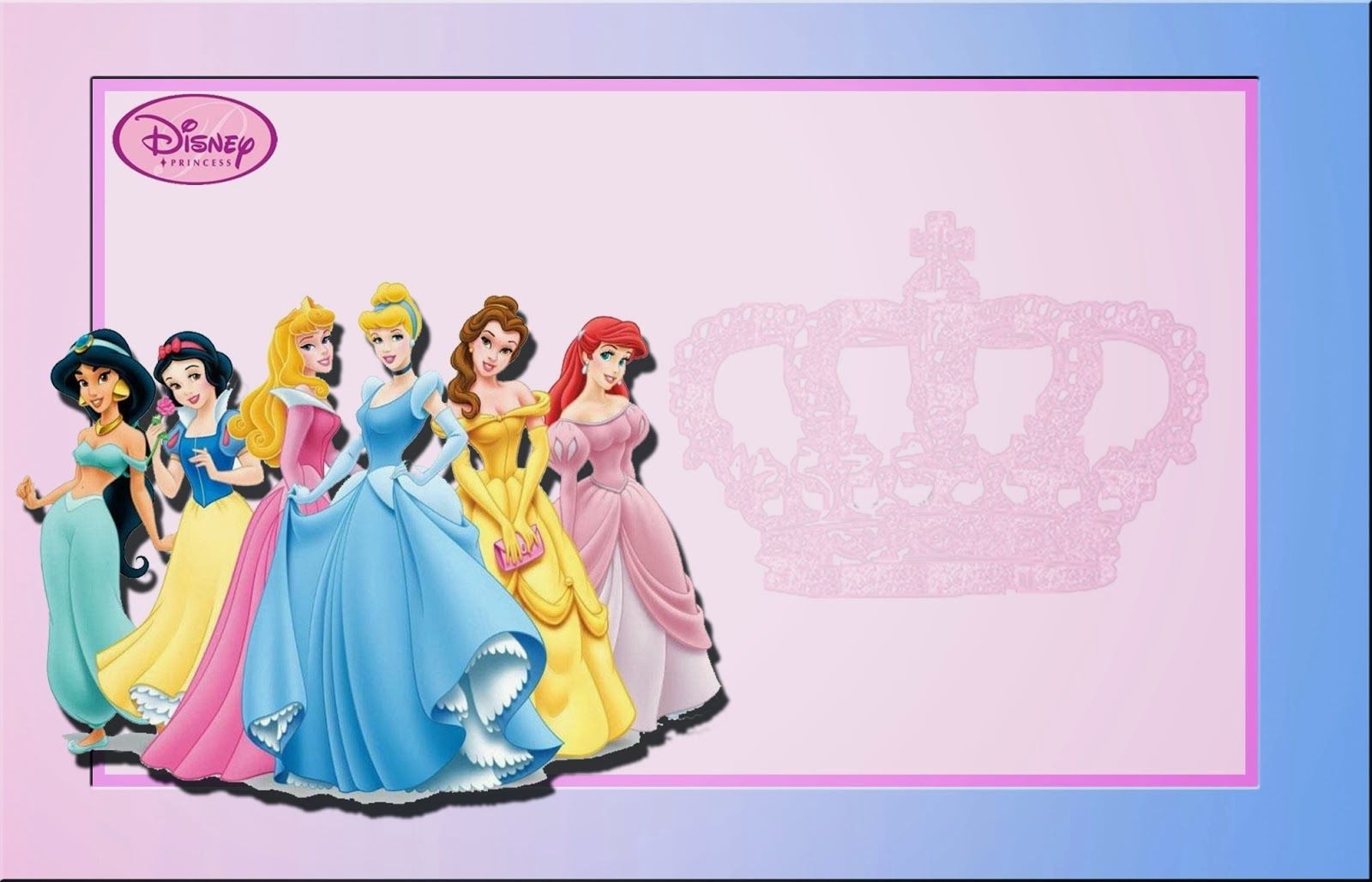 Disney Princess: Free Printable Invitations Or Photo Frames. - Oh My - Free Printable Princess Invitation Cards