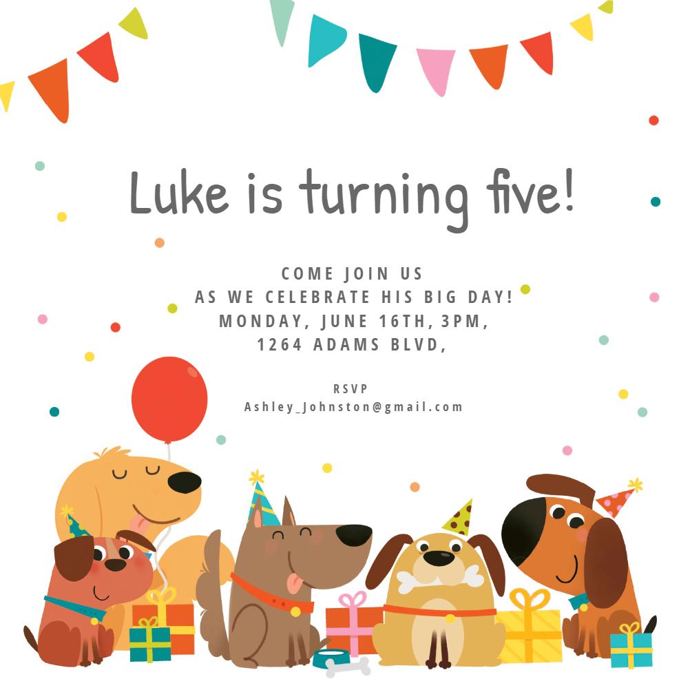 Dog Birthday Invitation Template (Free) | Greetings Island - Dog Birthday Invitations Free Printable