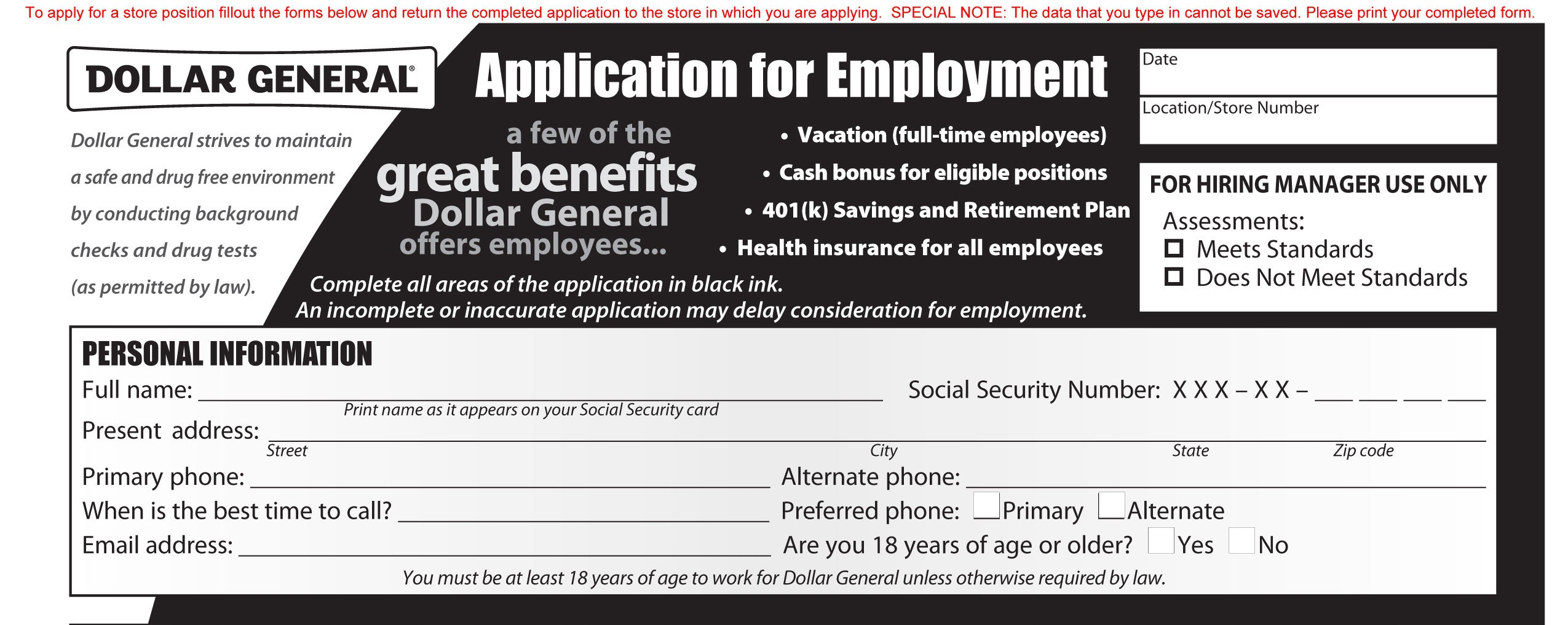 Dollar General Job Application - Printable Employment Pdf Forms - Free Printable Dollar Tree Application Form
