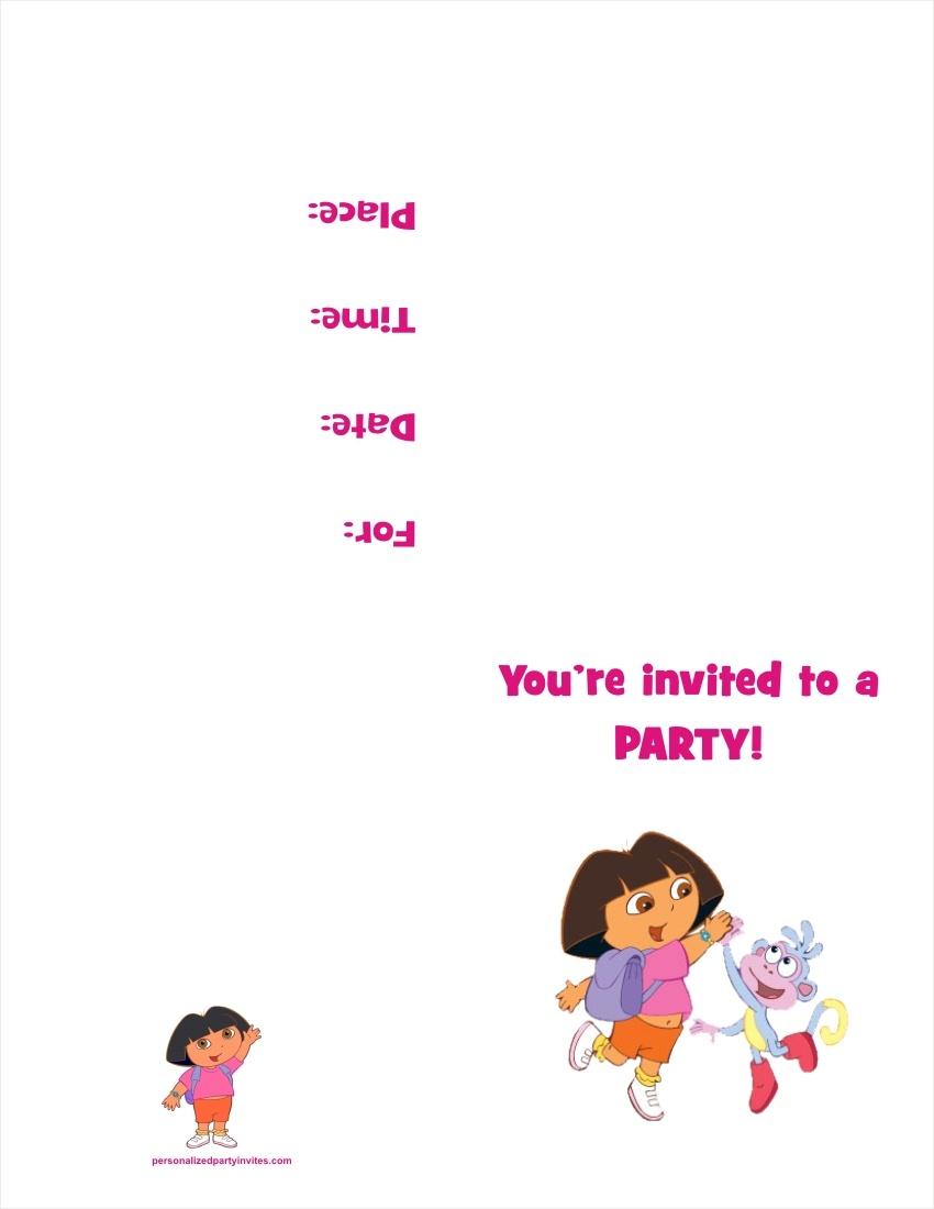 Dora The Explorer Free Printable Birthday Party Invitation - Dora Birthday Cards Free Printable