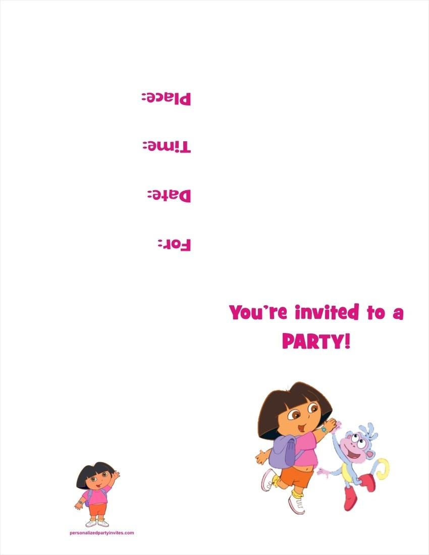 Dora The Explorer Free Printable Birthday Party Invitation - Dora The Explorer Free Printable Invitations