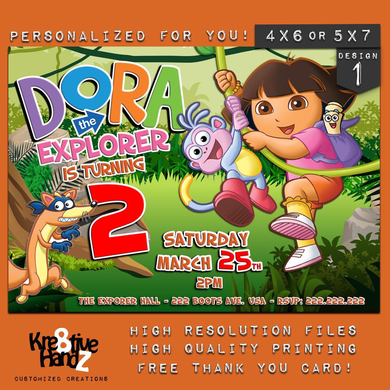 Dora The Explorer Invitation Personalized Printable Dora | Etsy - Dora The Explorer Free Printable Invitations
