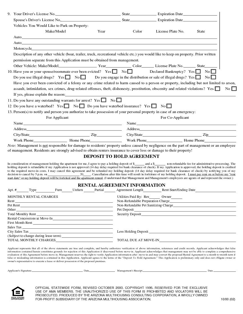 Download Free Arizona Rental Application Form - Printable Lease - Free Printable Rental Application