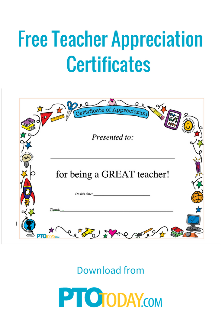 Download Our Teacher Appreciation Certificate To Give To Teacher - Free Printable Certificates For Teachers