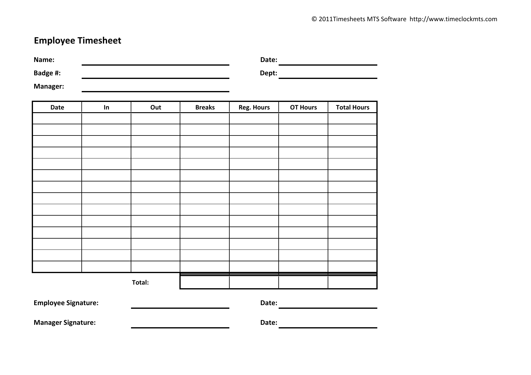 Download Weekly Timesheet Template | Excel | Pdf | Rtf | Word - Free Printable Time Sheets Pdf
