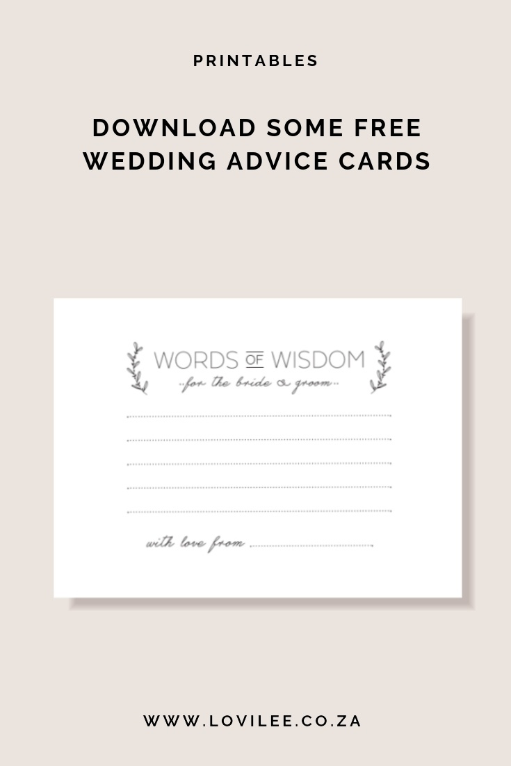 Download Your Free Wedding Advice Cards Printable | Lovilee Blog - Free Printable Bridal Shower Cards