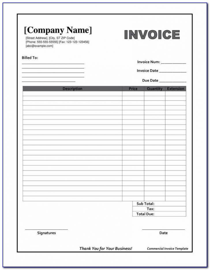 Free Printable Invoice Forms