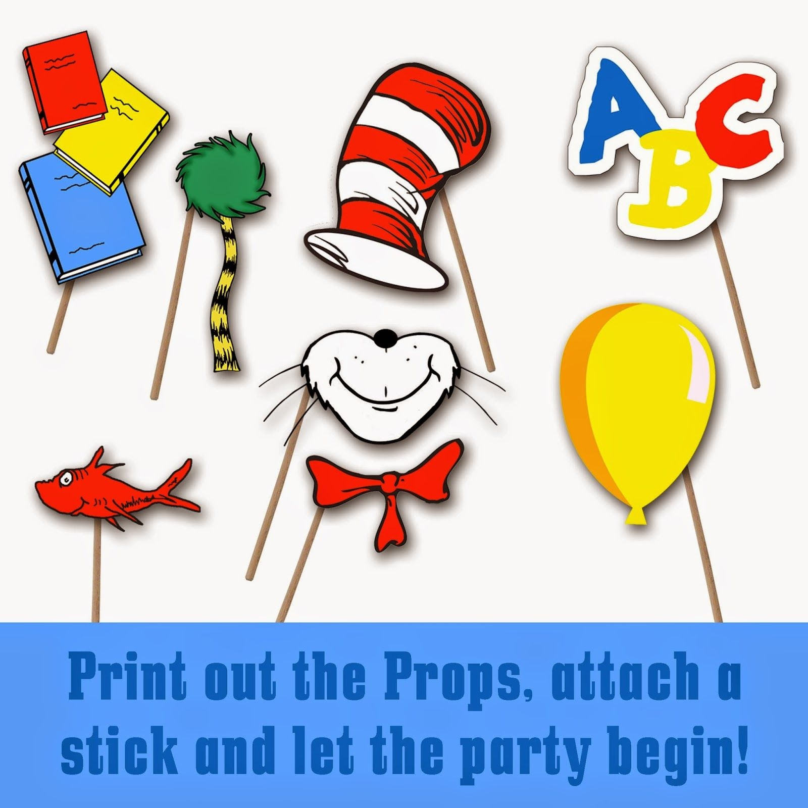 Dr. Seuss Photo Booth Printable Props | School-Dr. Seuss - Free Printable Dr Seuss Photo Props