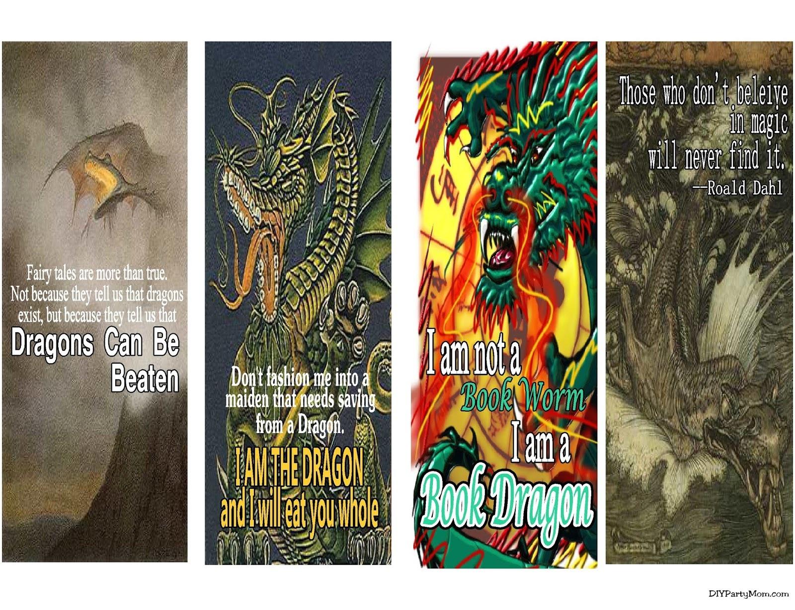 Dragon Bookmark Printable   Diy Party Mom - Free Printable Dragon Bookmarks