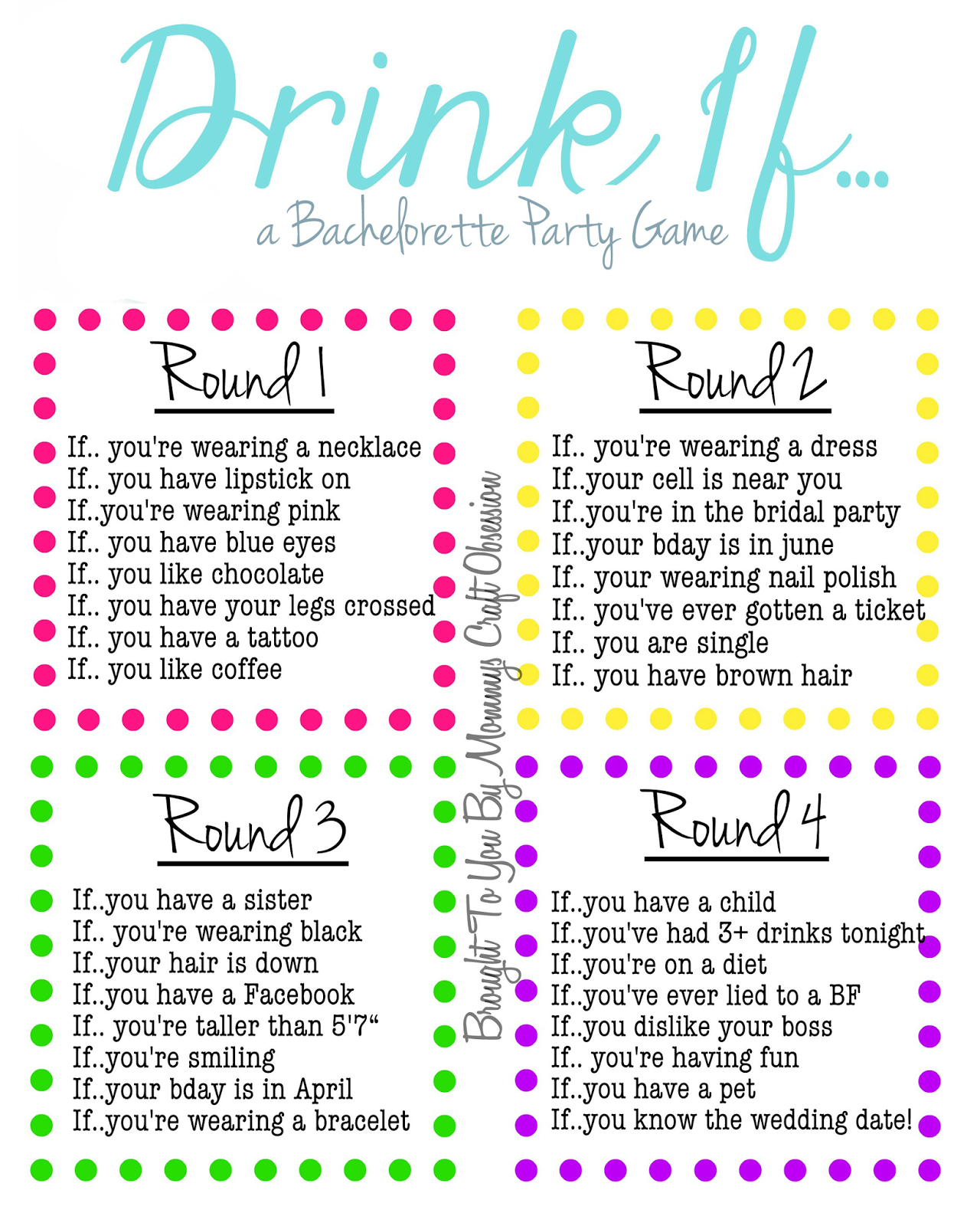 Drink If… A Bachelorette Party Game {Free Printable} (Mommys's - Free Printable Women's Party Games