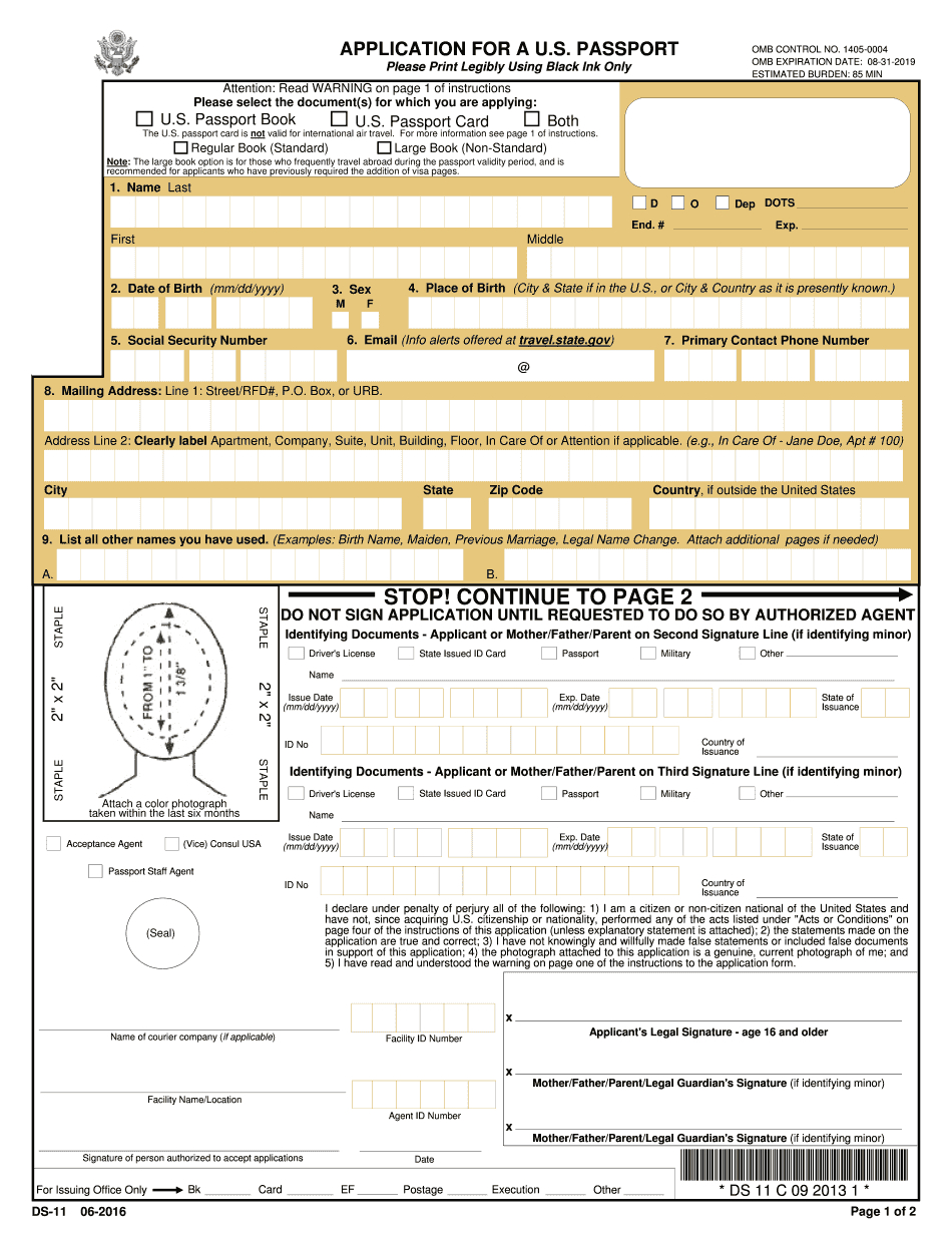 Ds-11 Form 2018 - Fillable & Printable Online Pdf Sample - Free Printable Ds 11