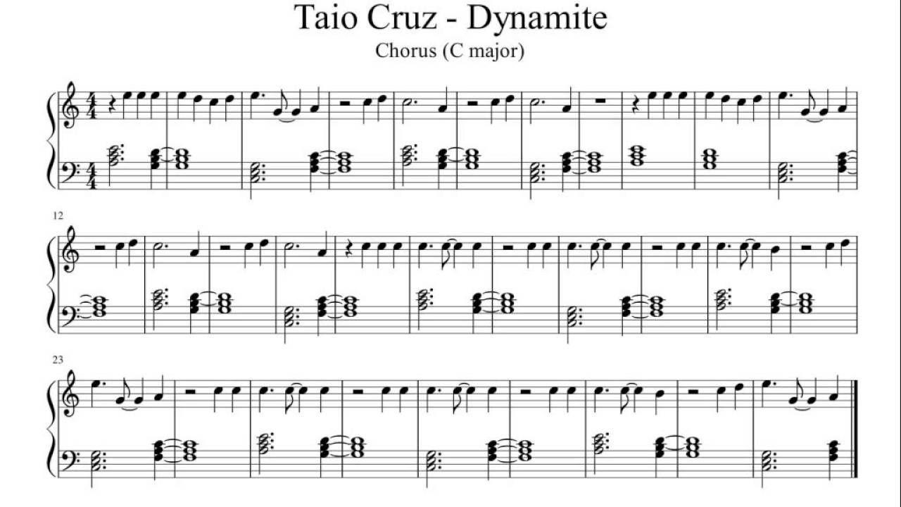 Dynamite - Taio Cruz (Chorus) - Easy Piano Sheet Music | Music Teaching - Dynamite Piano Sheet Music Free Printable