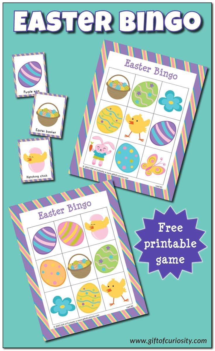 Easter Bingo Game {Free Printable} | Gift Of Curiosity | Easter - Free Printable Religious Easter Bingo Cards