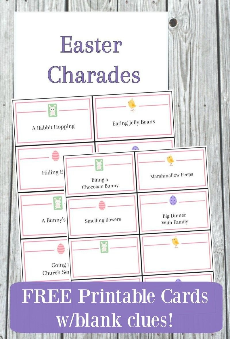 Easter Charades Game With Free Printable Cards In 2019 | Easter - Free Printable Charades Cards