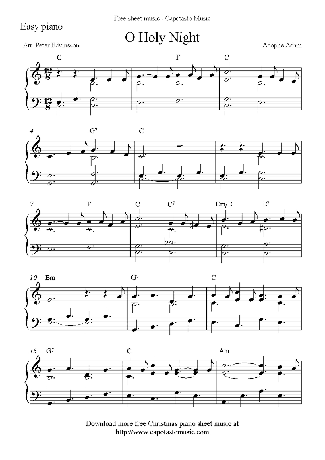 Easy Piano Solo Arrangementpeter Edvinsson Of The Christmas - Christmas Songs Piano Sheet Music Free Printable