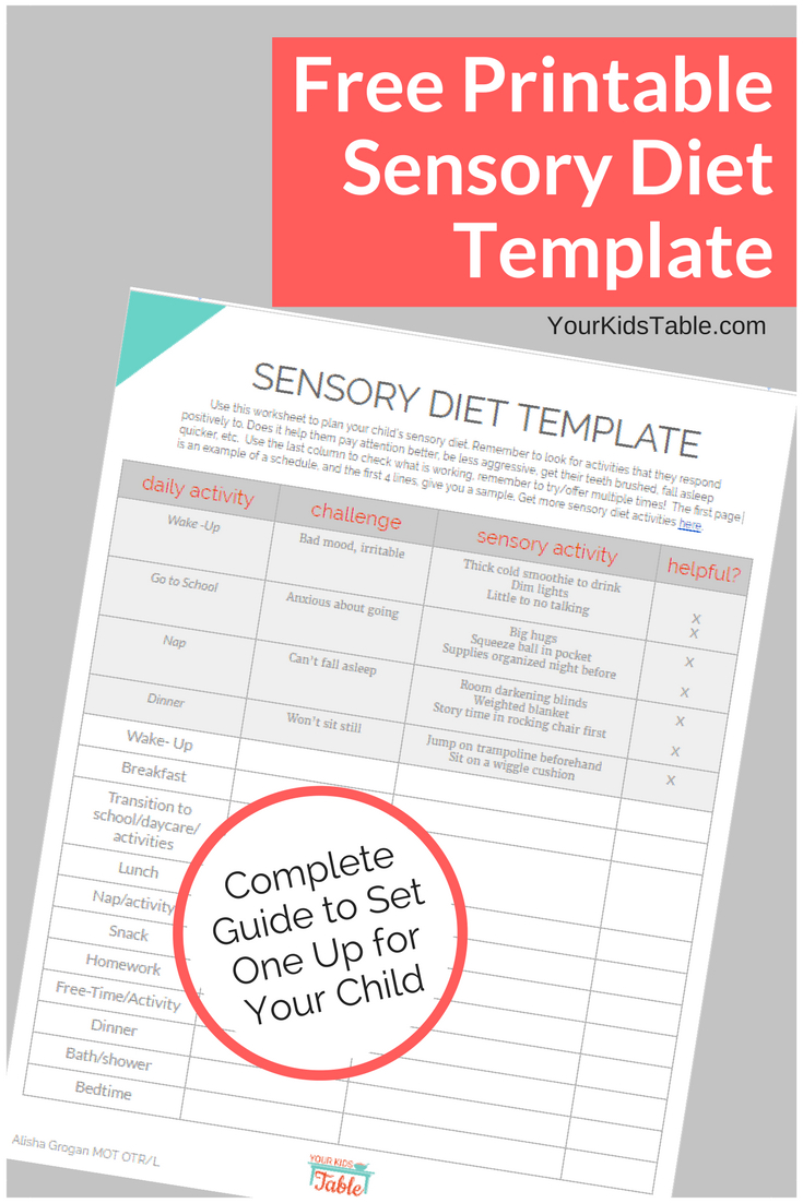 Easy To Use Sensory Diet Template With A Free Pdf | Ot | Sensory - Free Printable Sensory Stories