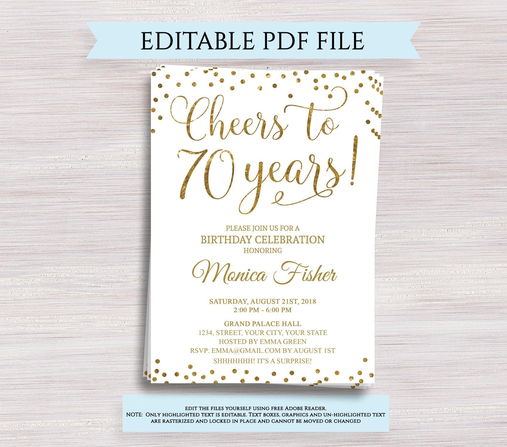 Editable 70Th Birthday Party Invitation Template Cheers To 70 | Etsy - Free Printable 70Th Birthday Party Invitations