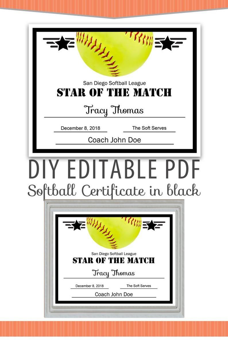 Editable Pdf Sports Team Softball Certificate Diy Award | Etsy - Free Printable Softball Certificates