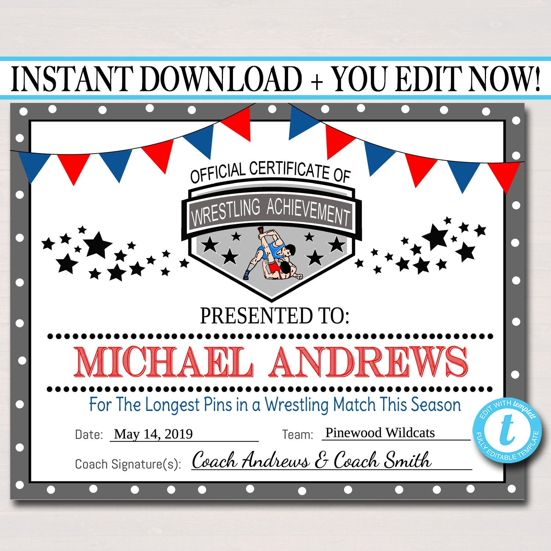 Editable Wrestling Award Certificates Instant Download | Etsy - Free Printable Wrestling Certificates