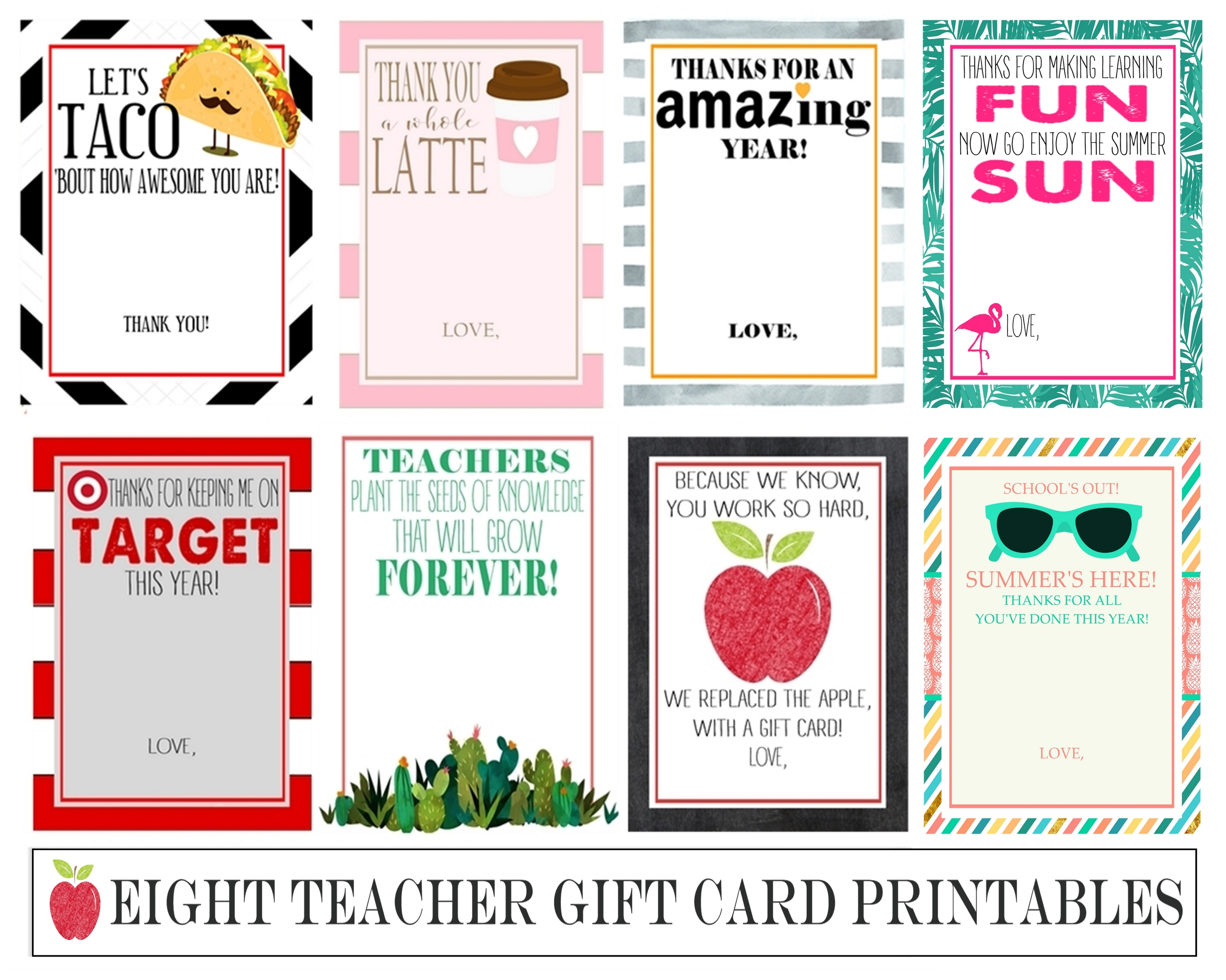 Eight Instant Download Teacher Gift Card Printables - Crisp Collective - Thanks A Latte Free Printable Card