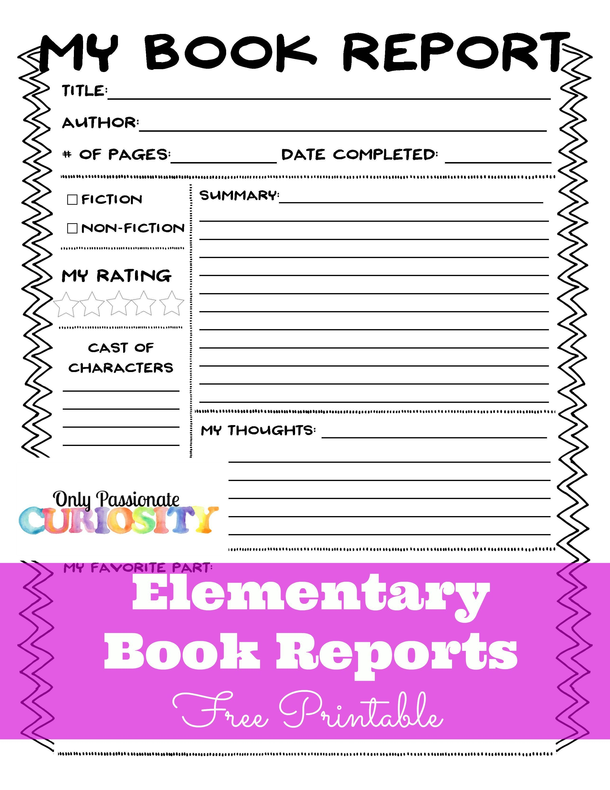 Elementary Book Reports Made Easy | Homeschooling | Book Report - Free Printable Story Books For Grade 2