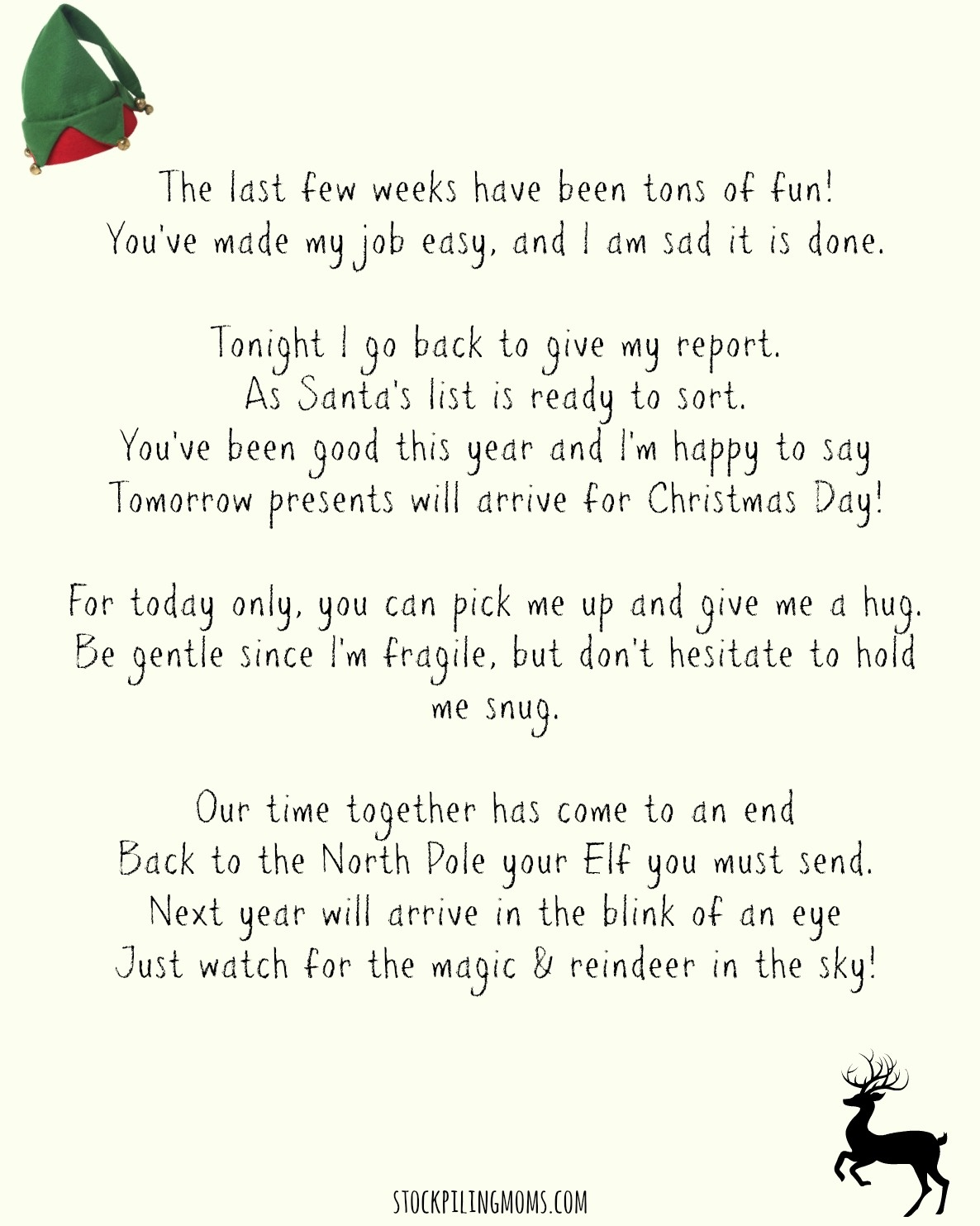 Elf On A Shelf Goodbye Letter Printable - Elf On The Shelf Goodbye Letter Free Printable