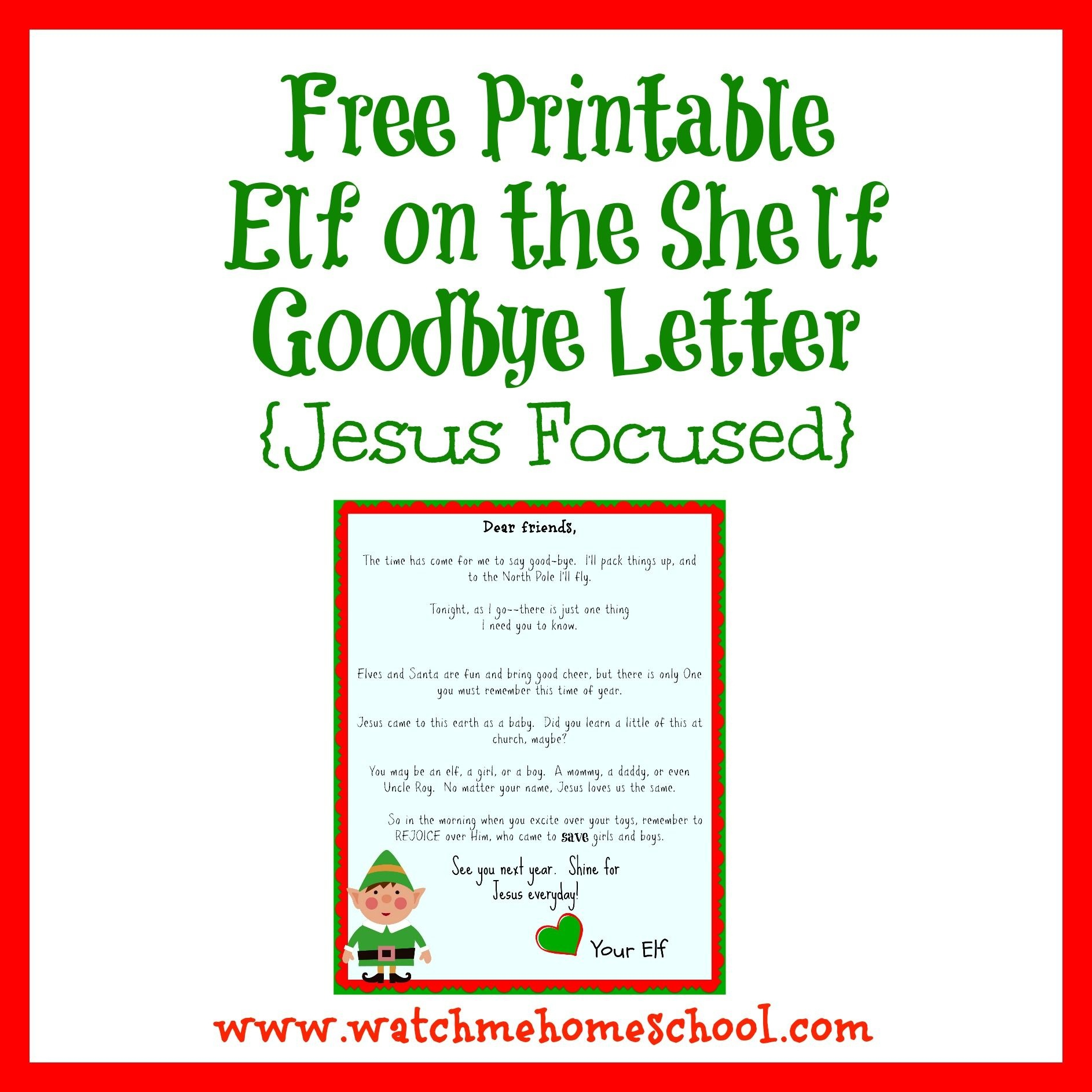 Elf On The Shelf Farewell Letter Printable | Elf On The Shelf | Elf - Elf On The Shelf Goodbye Letter Free Printable