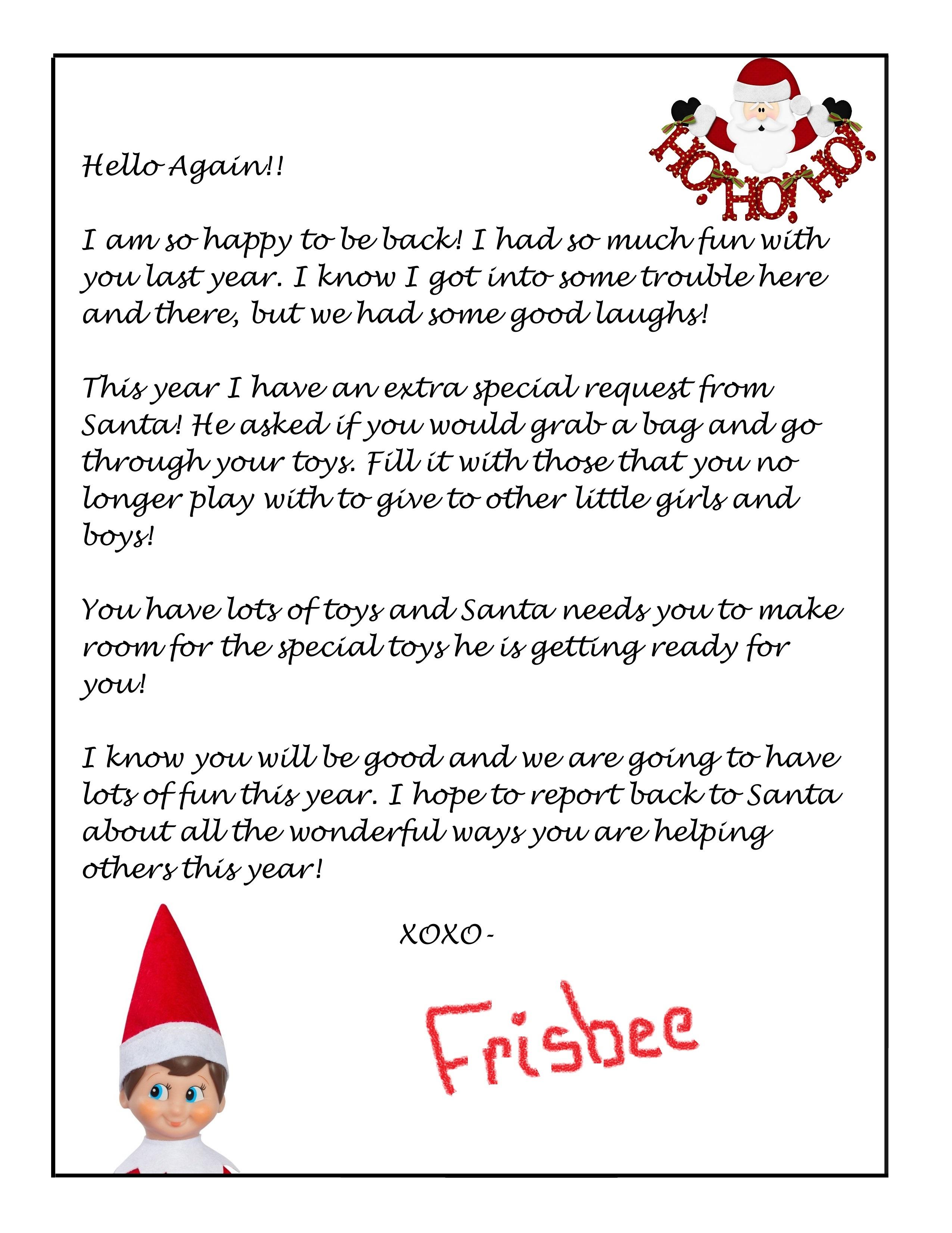 Elf On The Shelf Free Donation Letter Printable - Printables 4 Mom - Free Printable Elf On Shelf Arrival Letter