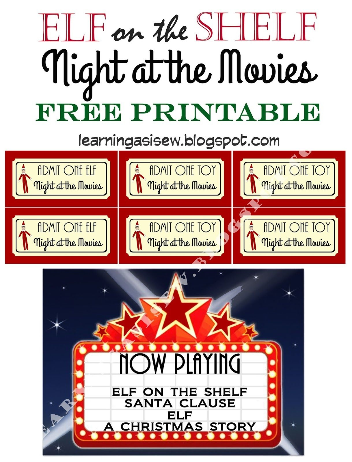 Elf On The Shelf Free Printable - Night At The Movies, Printable - Elf On The Shelf Printable Props Free