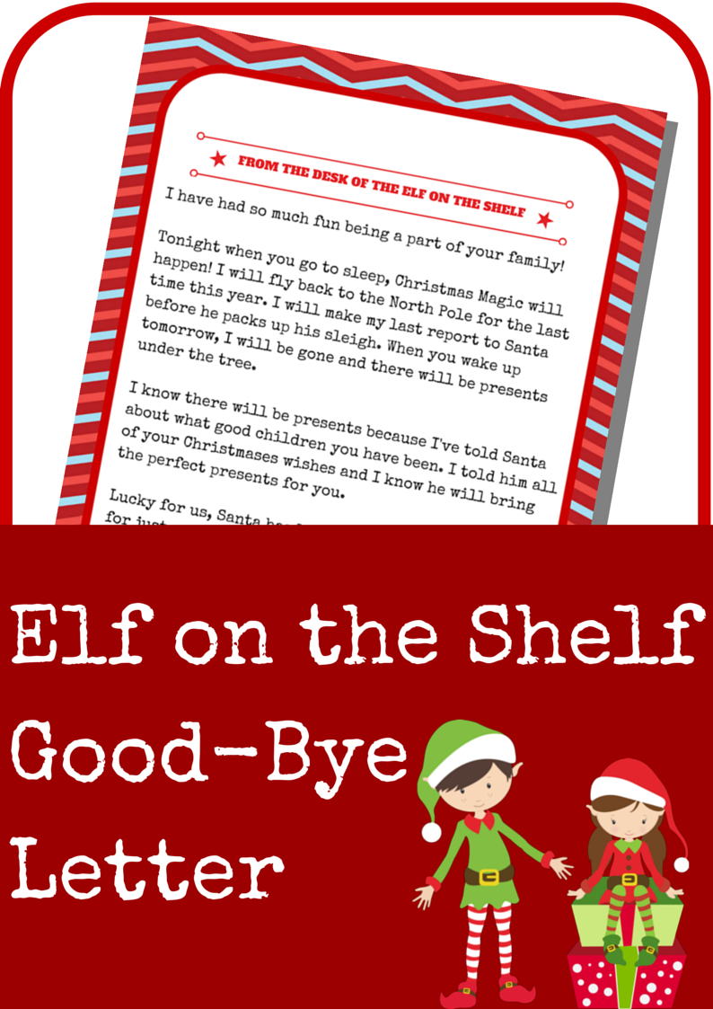 Elf On The Shelf Good-Bye Letter - A Grande Life - Elf On A Shelf Goodbye Letter Free Printable