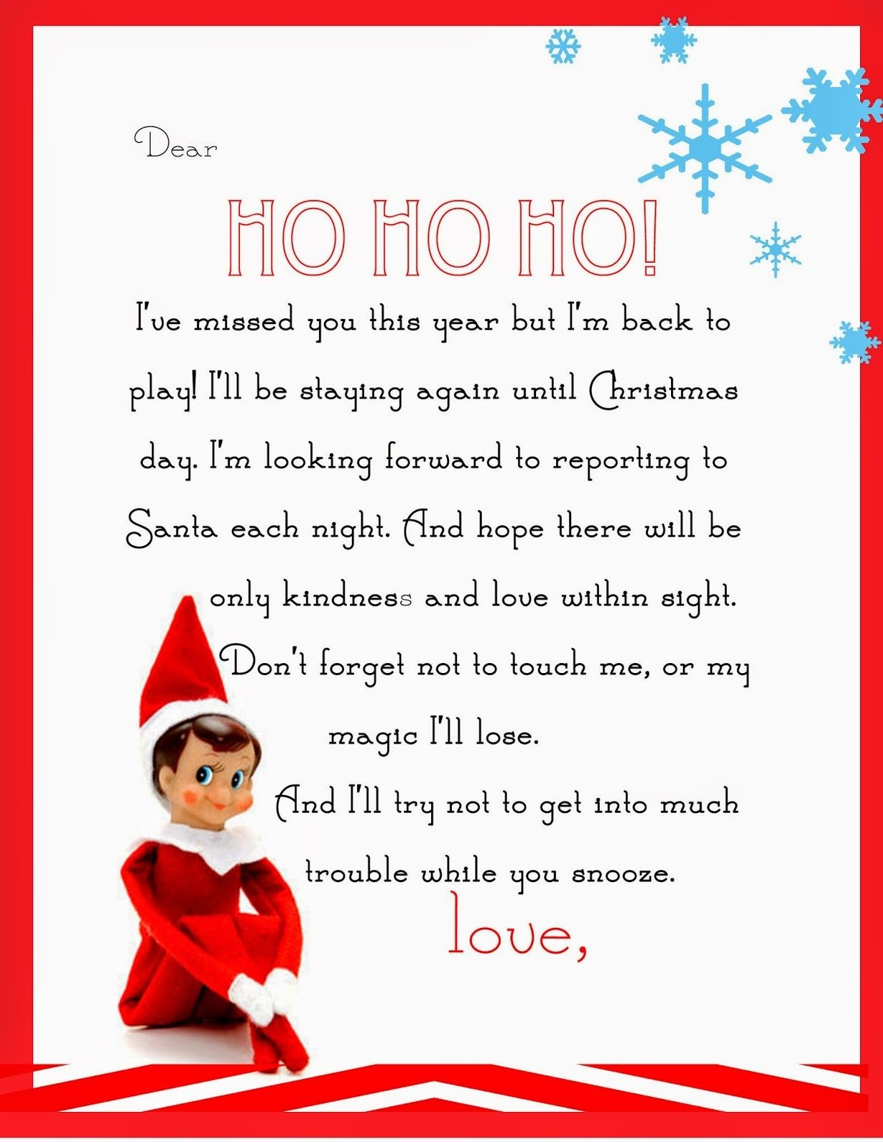 Elf On The Shelf Letter {Free Printable} | Christmas | Elf On The - Elf On The Shelf Goodbye Letter Free Printable
