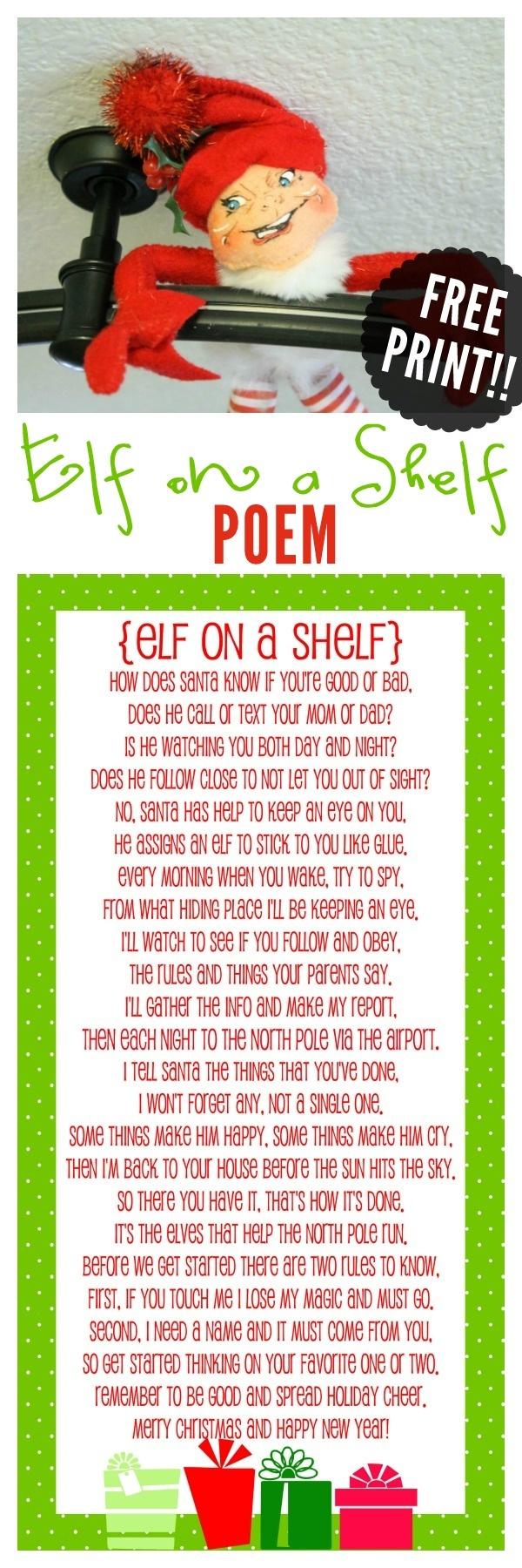 Elf On The Shelf Story - Free Printable Poem | Christmas Help | Elf - Free Printable Elf On The Shelf Story