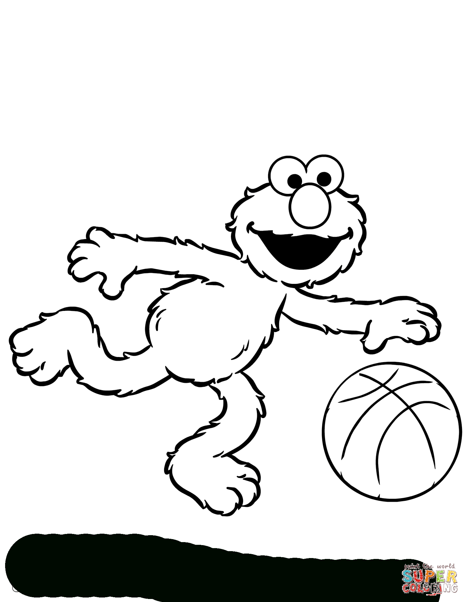 Elmo Plays Basketball Coloring Page | Free Printable Coloring Pages - Elmo Color Pages Free Printable