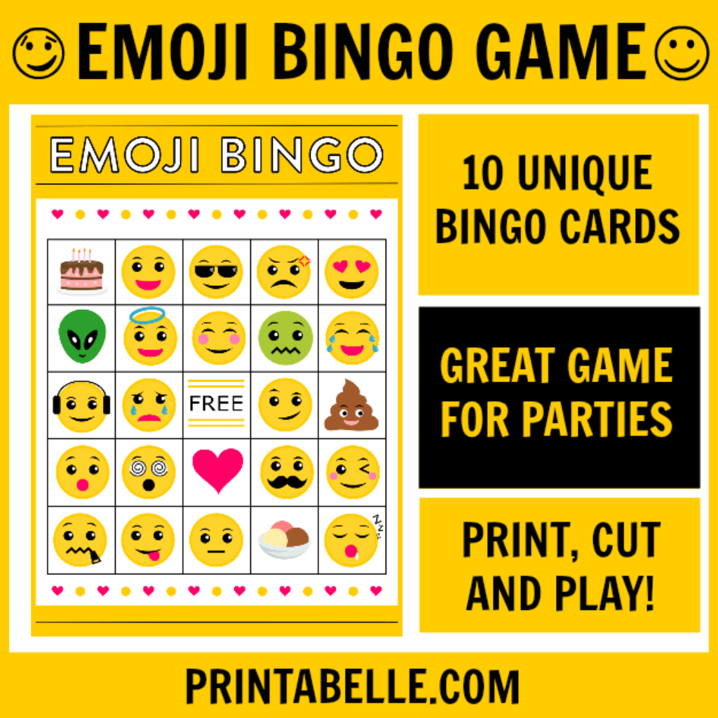 Emoji Bingo Printable Game In 2019   Emoji Party Ideas   Emoji Bingo - Free Emoji Bingo Printable