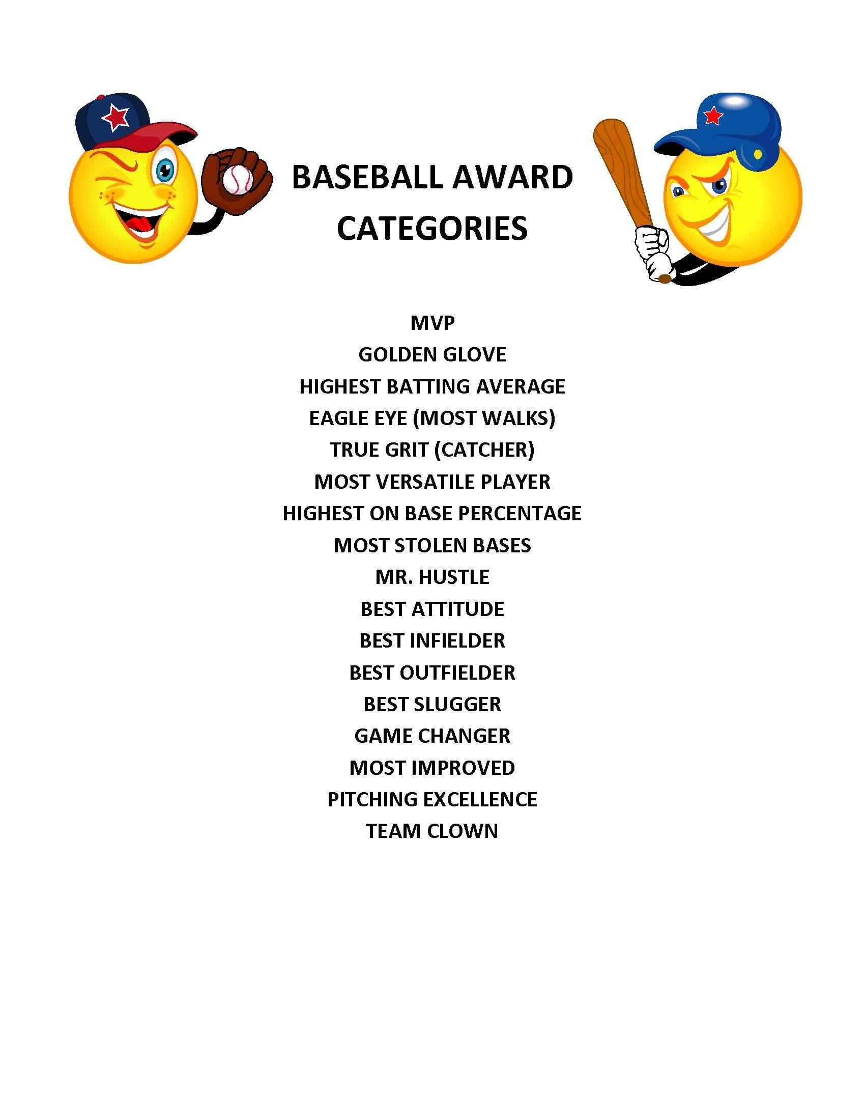 End Of Season Baseball Award Categories | Kid's Baseball Party - Free Printable Softball Certificates