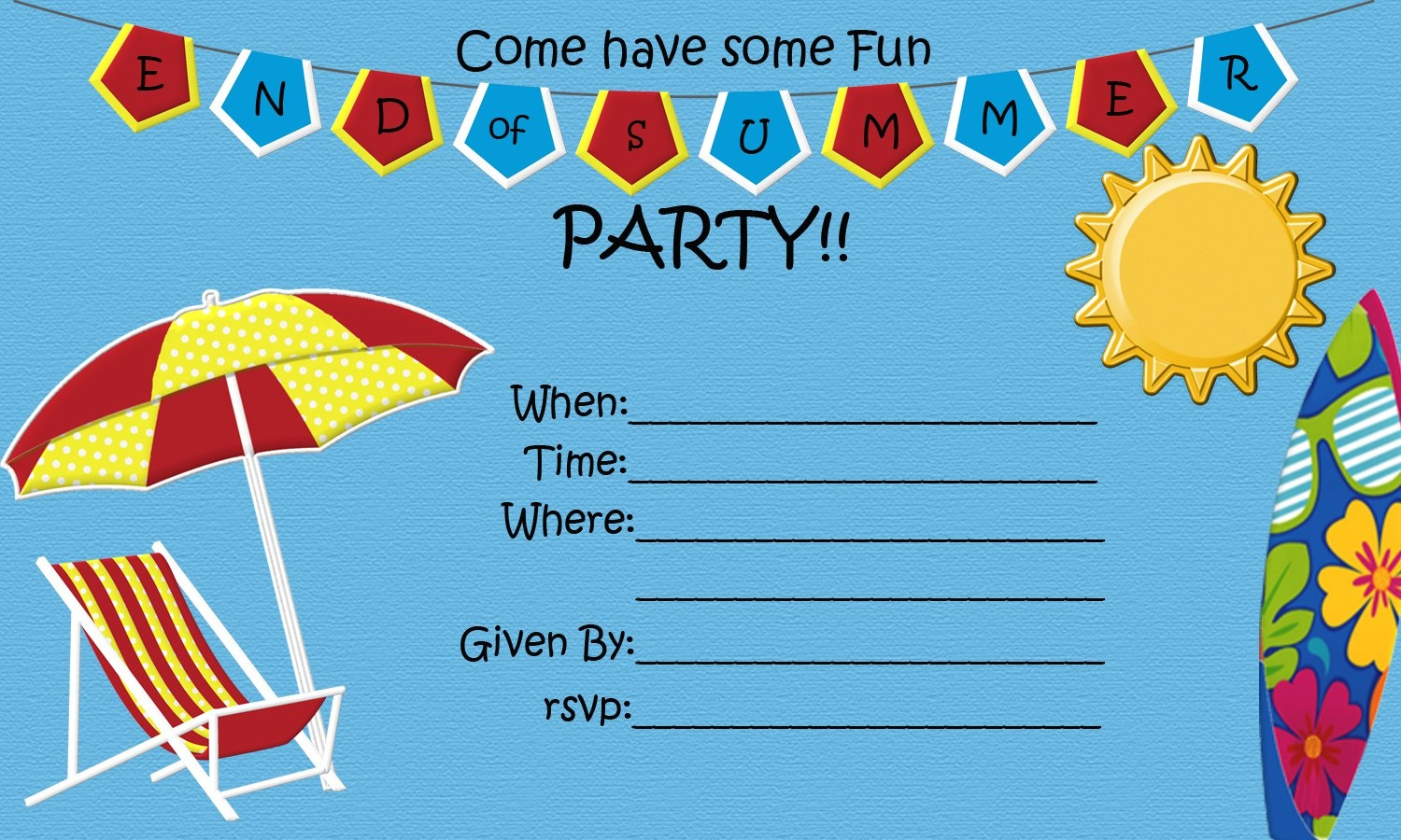 End Of Summer Party {Free Printable} | Five Little Chefs - Free Printable Event Invitations