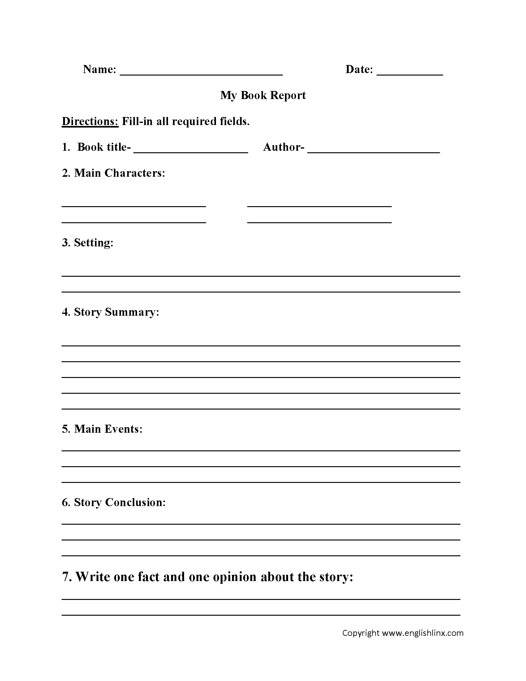 Englishlinx | Book Report Worksheets - Book Report Template Free Printable