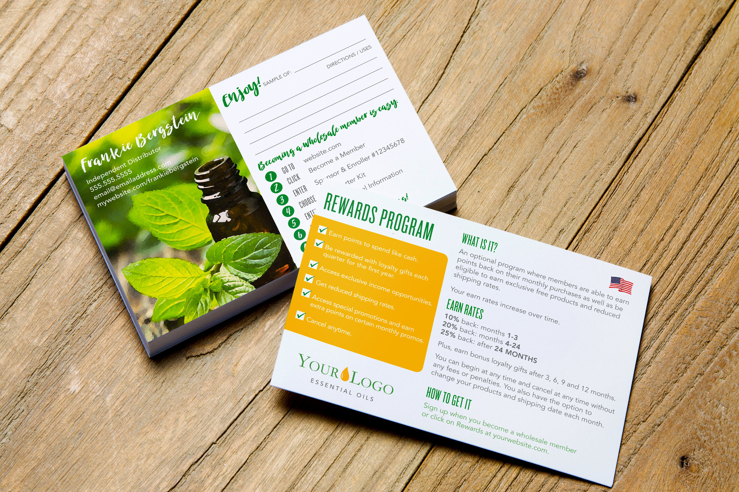 Essential Oil Sample Card W/ Sign-Up Instructions & Reward Info >  Peppermint > Printable > Personalized > Young Living Distributor - Free Printable Doterra Sample Cards