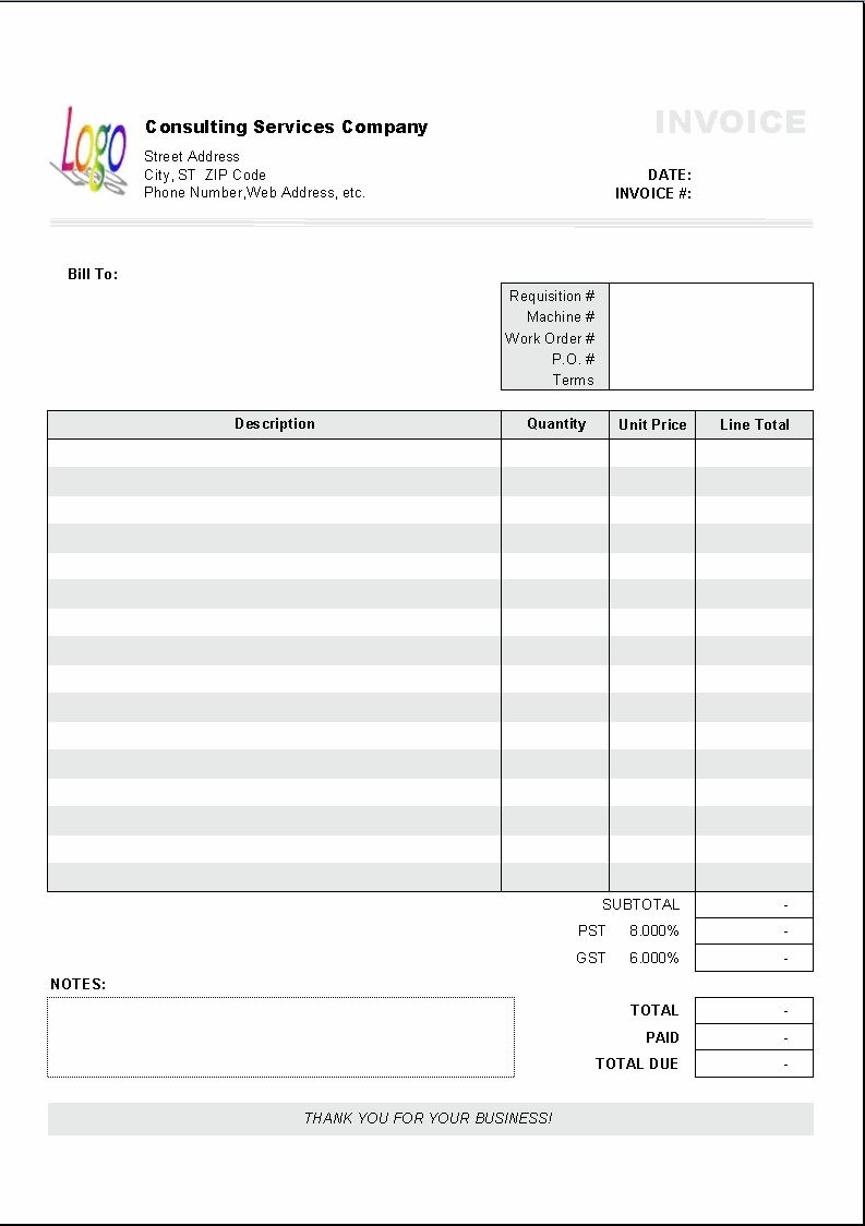 Excel Based Consulting Invoice Template Excel Invoice Manager - Free Printable Work Invoices