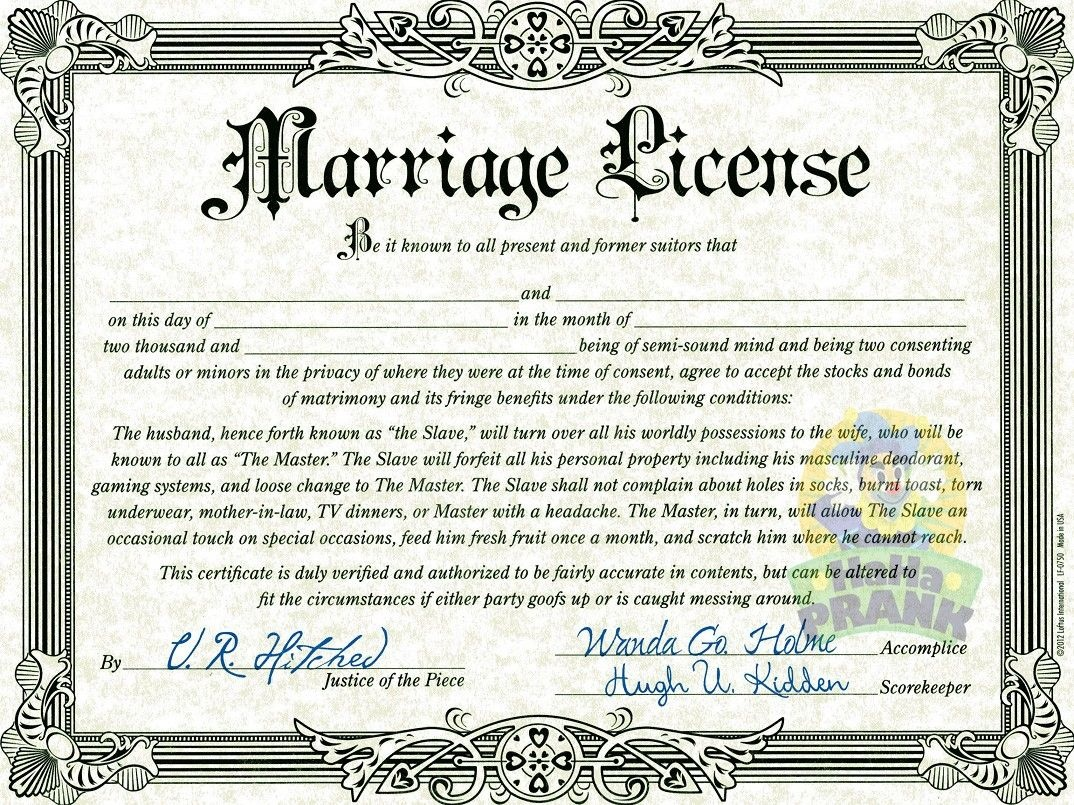 Fake Marriage Certificate   Marriage License   Marriage License - Fake Marriage Certificate Printable Free