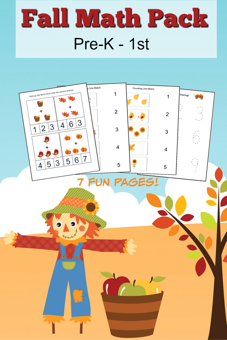 Fall Math Worksheets For Pre-K To 1St Grade - Frugal Mom Eh! - Free Printable Fall Math Worksheets