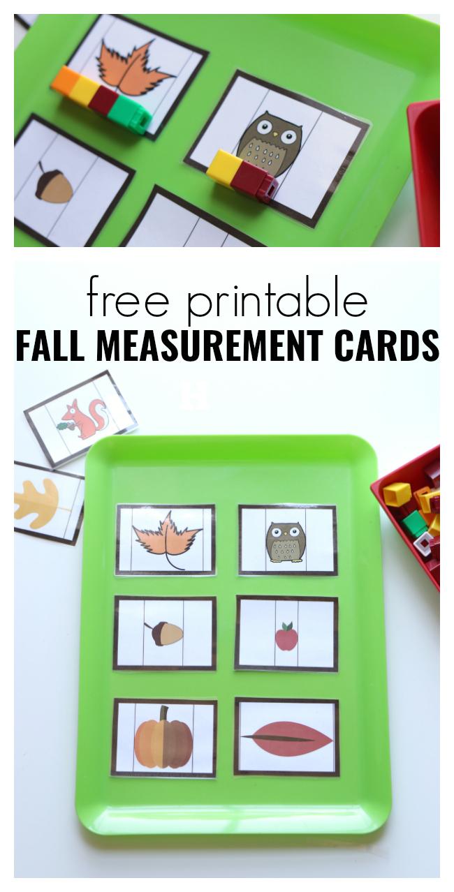 Fall Measurement Cards For Preschool - Free Printable Fall Math - Free Printable Math Centers