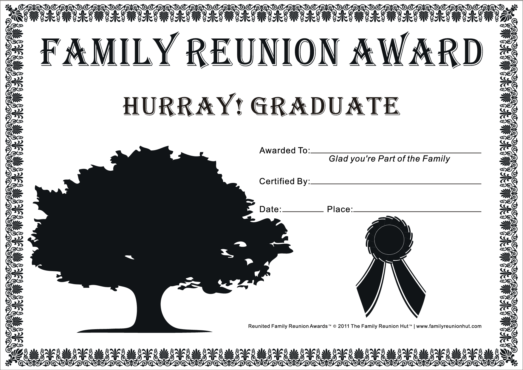 Family Reunion Certificates - Hope Tree 16 Is A Free Family Reunion - Free Printable Family Reunion Awards