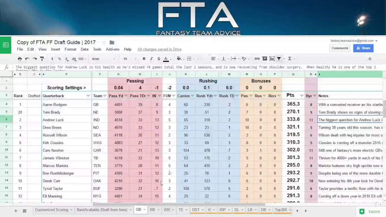 Fantasy Football Draft Guide / Cheatsheet (Using Value Based - Free Printable Fantasy Football Cheat Sheets