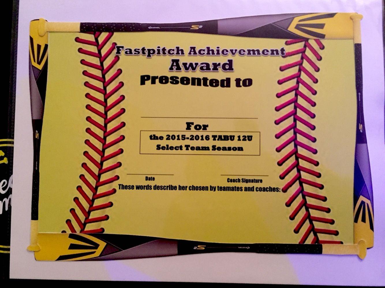 Fastpitch/softball Awards Certificate. | Softball | Fastpitch - Free Printable Softball Certificates