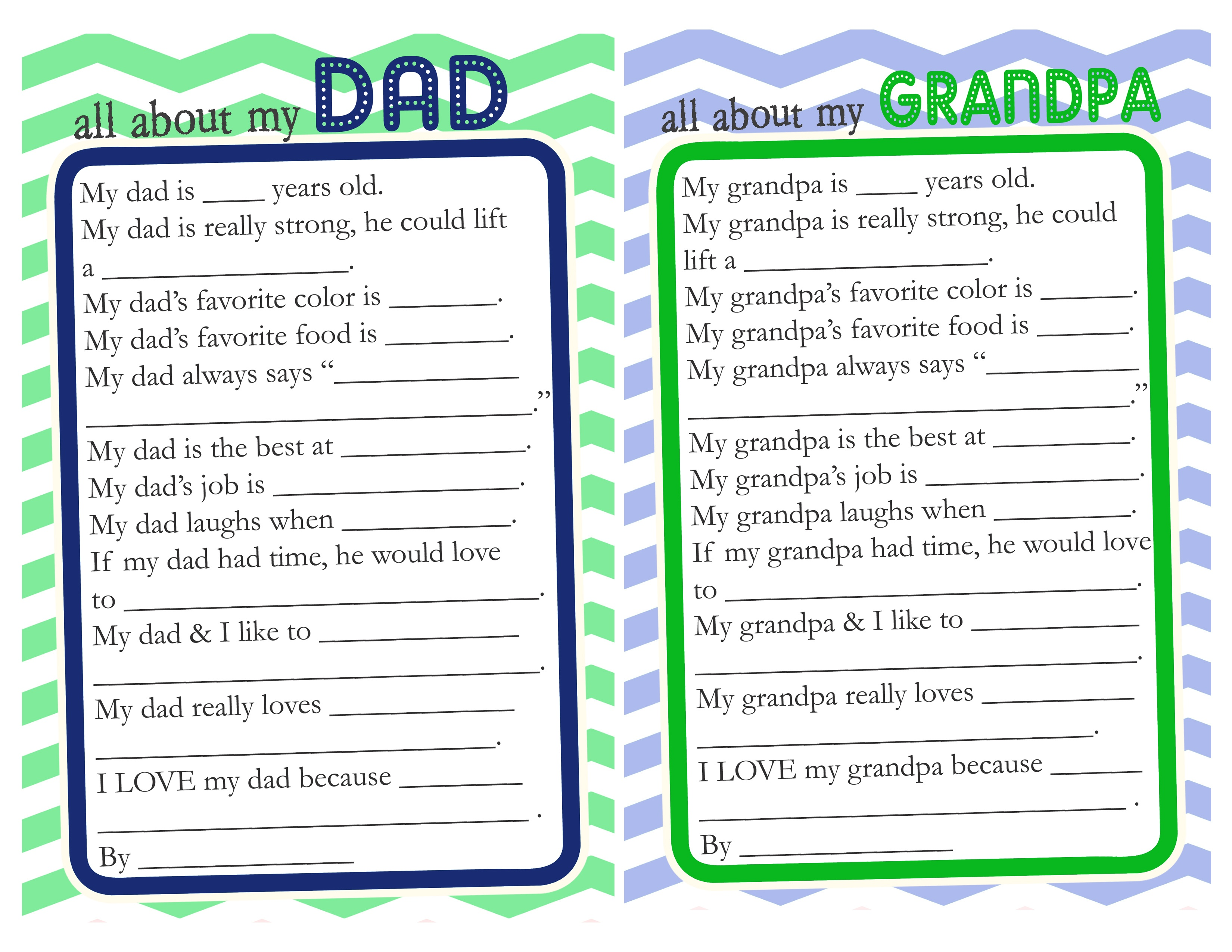 Father's Day Questionnaire & Free Printable - The Crafting Chicks - Free Printable Happy Fathers Day Grandpa Cards
