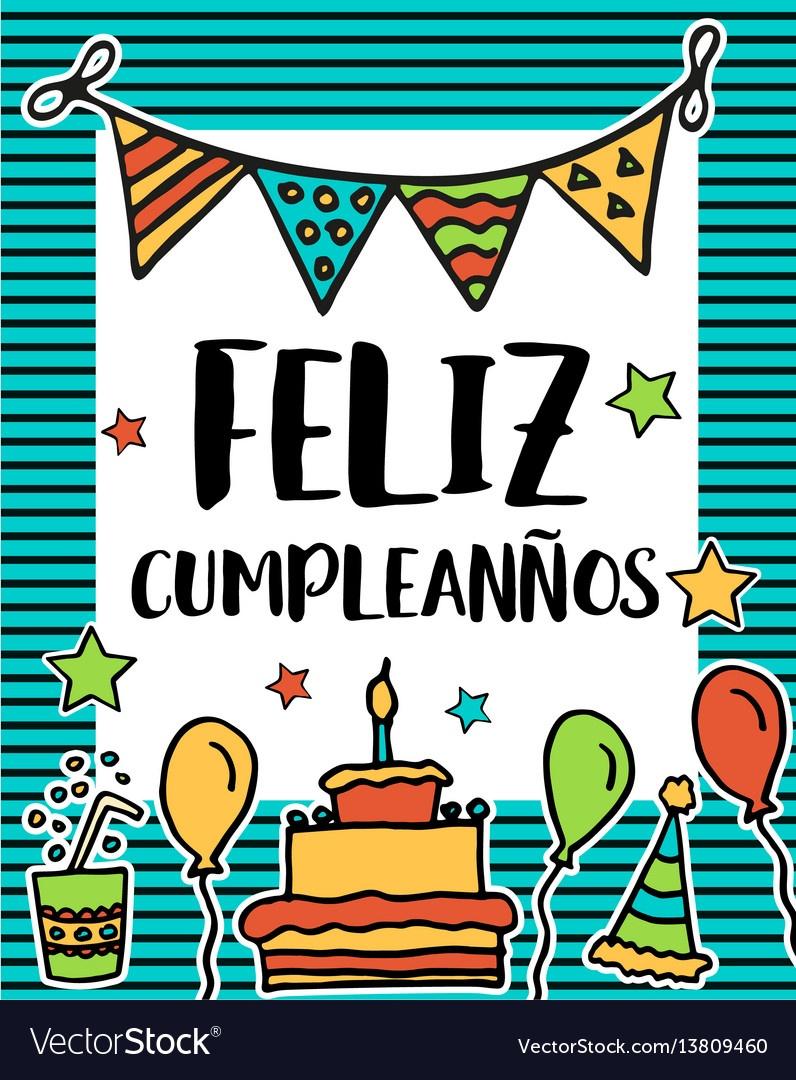 Feliz Cumpleanos Happy Birthday In Spanish Vector Image - Free Printable Happy Birthday Cards In Spanish