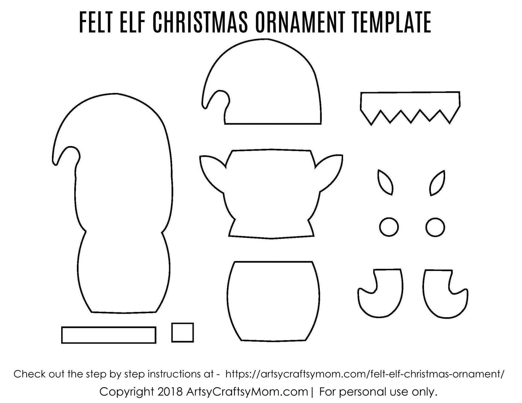 Felt Elf Christmas Ornament Craft - Free Printable Felt Christmas Ornament Patterns